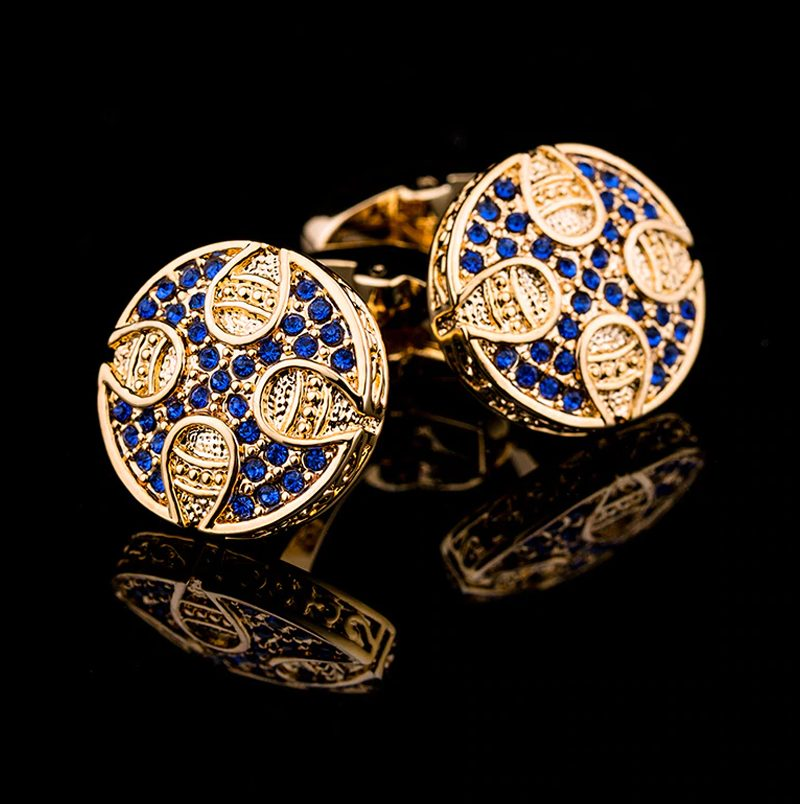 Crystal Blue And Gold Cufflinks Set Mens Luxury Cufflinks from Gentlemansguru.com
