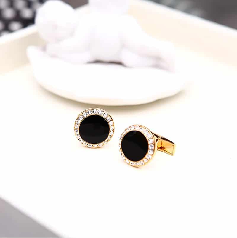Crystal Gold And Black Cufflinks Set from Gentlemansguru.com