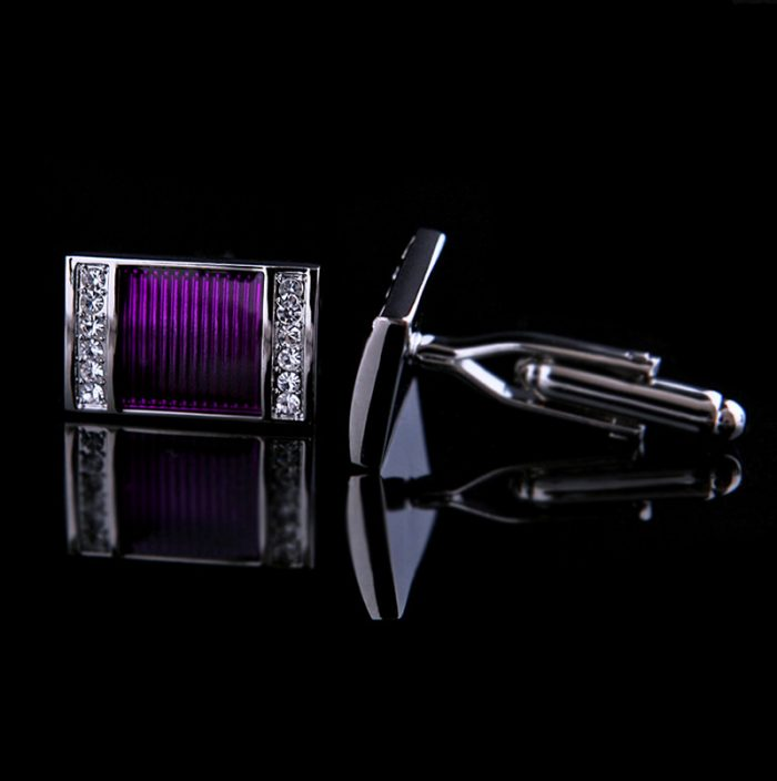 Crystal Purple Cufflinks Wedding Mens Mens Purple Wedding Cufflinks from Gentlemansguru.com