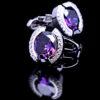 Crystal Purple Stone Cufflinks from Gentlemansguru.com