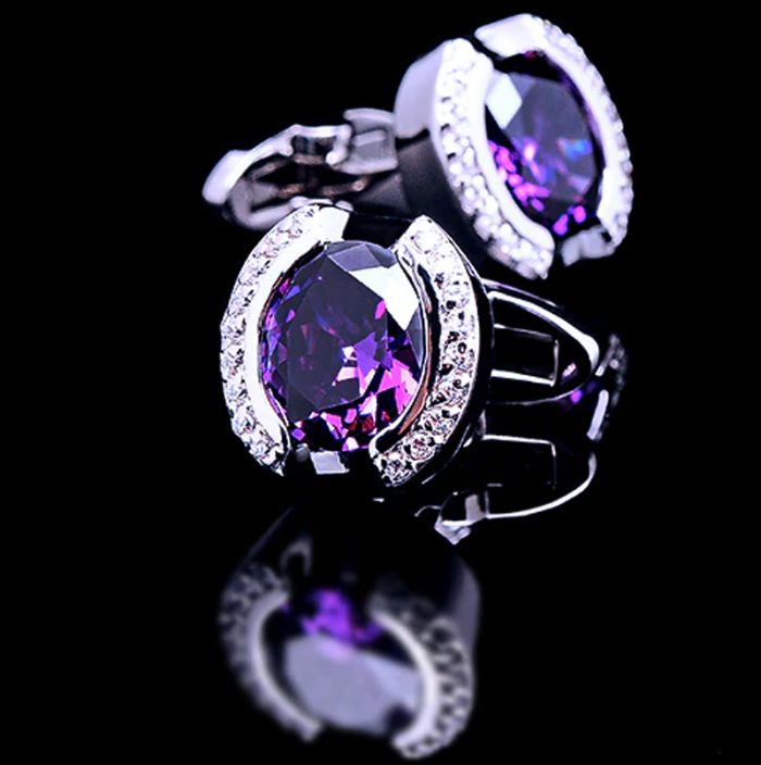 Crystal Purple Stone Cufflinks from Gentlemansguru.com