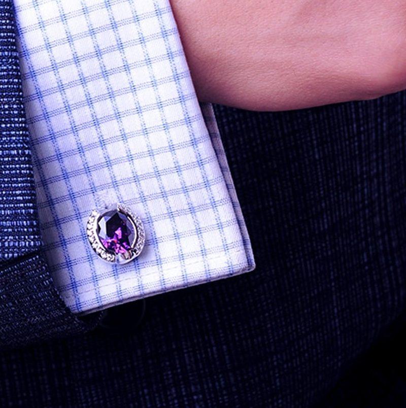 Crystal Purple Wedding Cufflinks