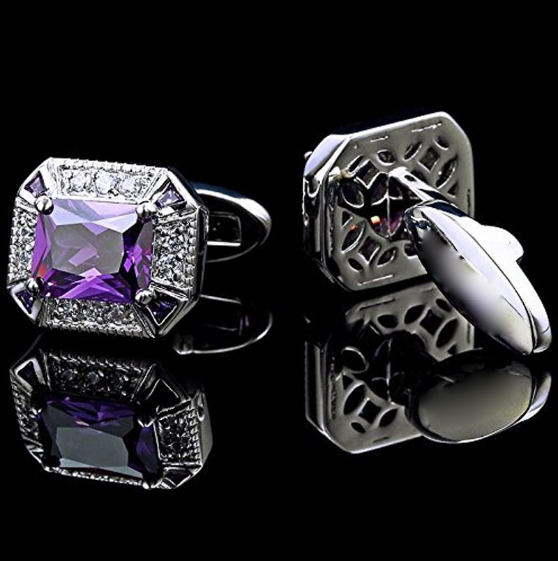 Crystal Purple Wedding Cufflinks With Silver from Gentlemansguru.com