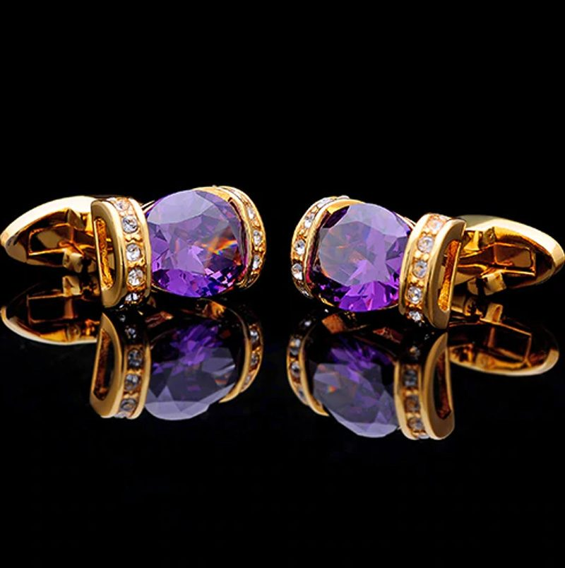 Crystal Purple and Gold Cufflinks from Gentlemansguru.com