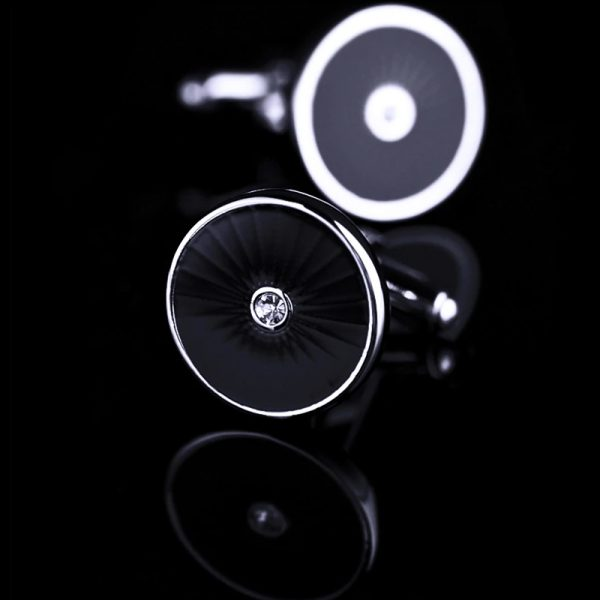 Crystal Round Black Cufflinks from Gentlemansguru.com