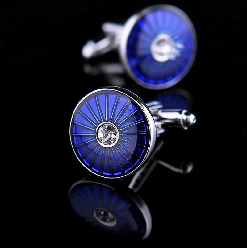 Crystal Round Blue Cufflionks for Men from Gentlemansguru.com