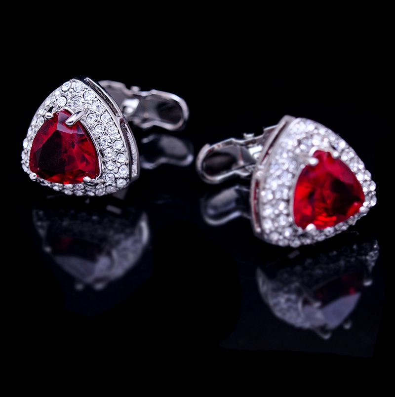 Crystal Ruby Cufflinks For Men Red Crystal Cufflinks from Gentlemansguru.com