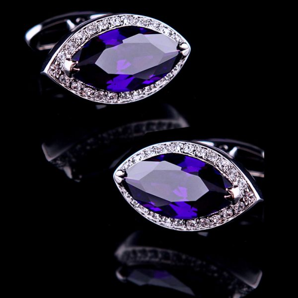 Crystal Wedding Purple Diamond Cufflinks in Purple from Gentlemansguru.com