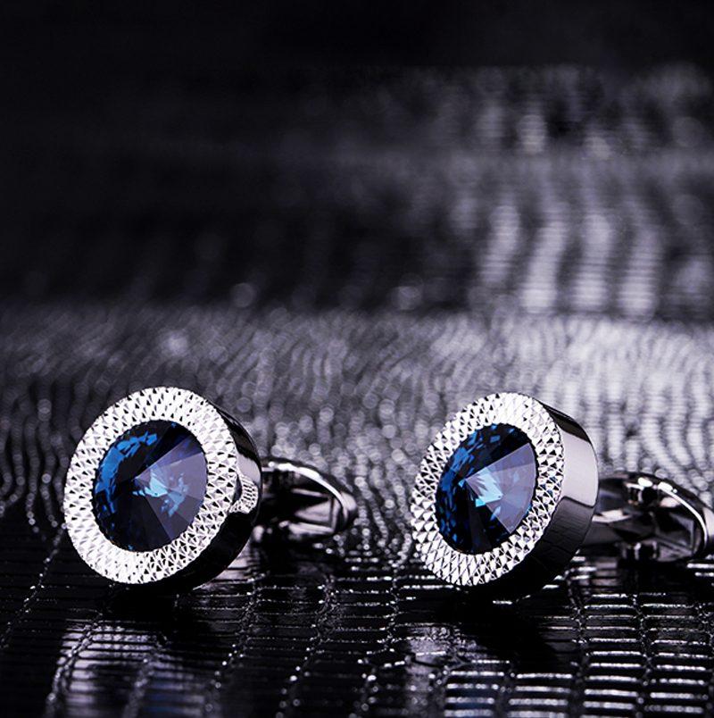Crystal round blue Cufflinks for Men from Gentlemansguru.com