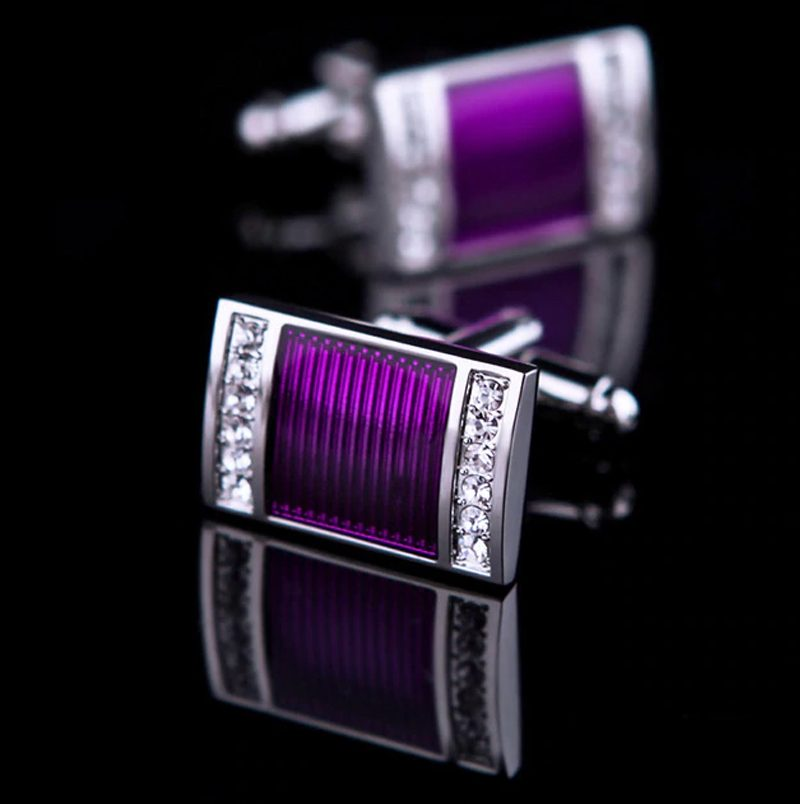 Crystals Purple Wedding Cufflinks from Gentlemansguru.com