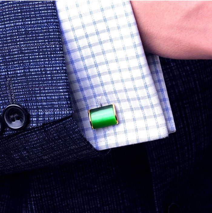 Emeralrd Greeen and Gold Cufflinks Set for Men from Gentlemansguru.com