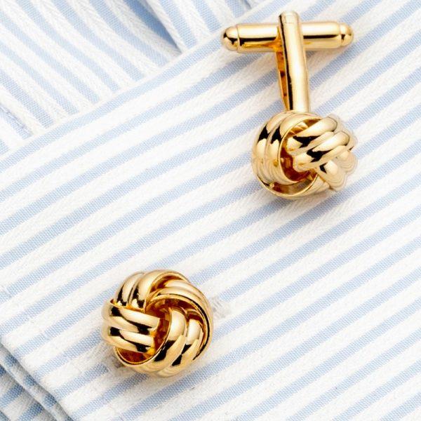 French Cuff Gold Knot Cufflinks Set from Gentlemansguru.com