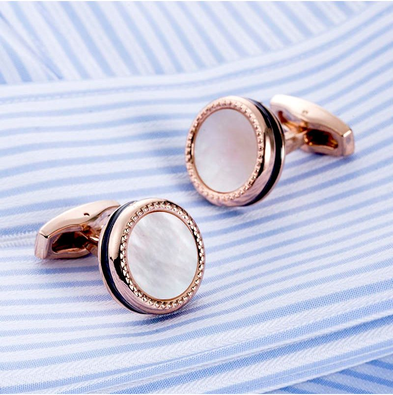 French Cuff Shirt Rose Gold Cufflinks Set from Gentlemansguru.com