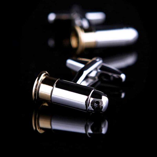 Gold and Silver Bullet Cufflinks Set from Gentlemansguru.com