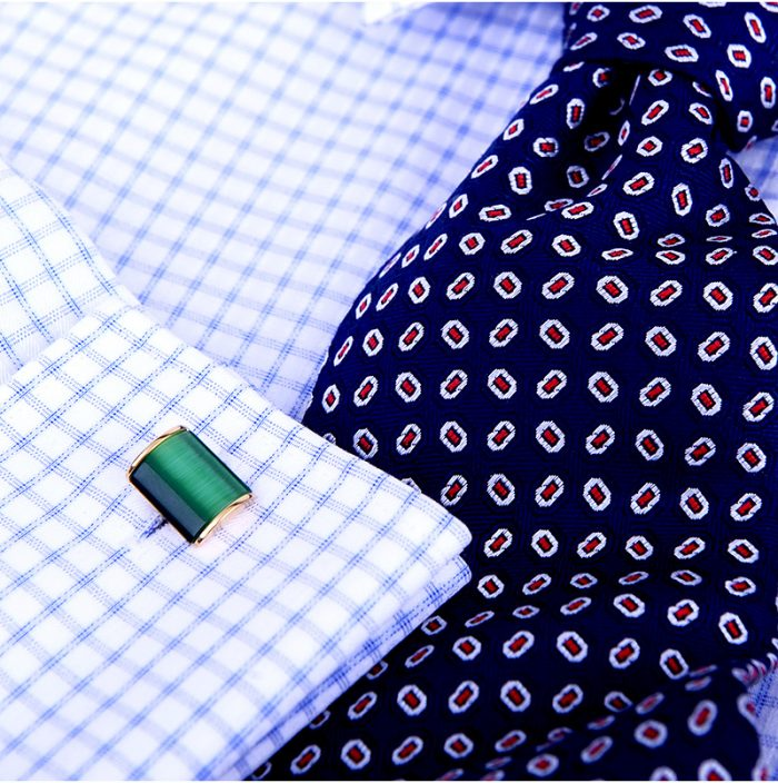 Green Emerald 18k Gold Cufflinks Button Shirt Cufflinks from Gentlemansguru.com