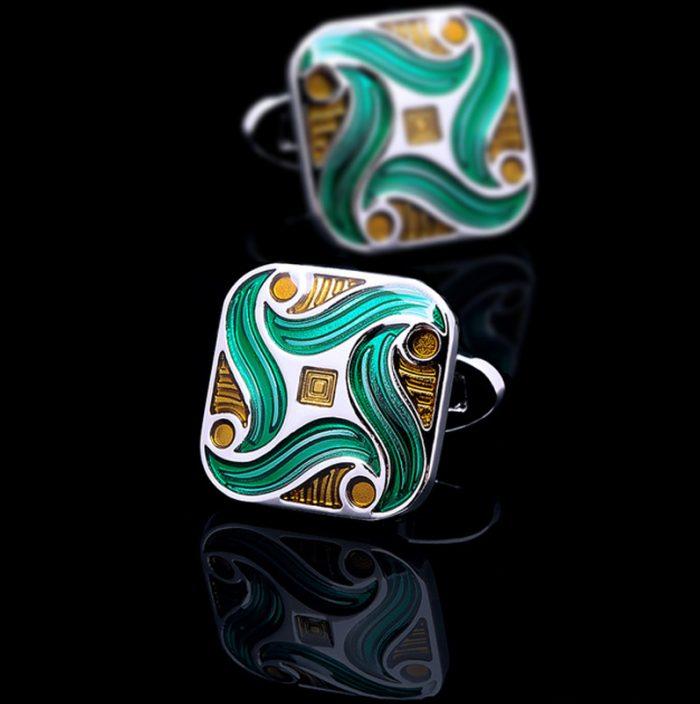 Green Enameled Cufflinks from Gentlemansguru.com