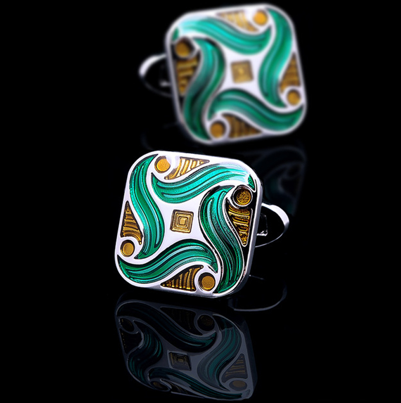 Green Enameled Cufflinks from Gentlemansguru.com