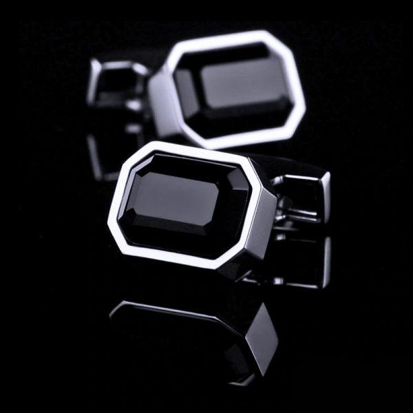Large Black Crystal Cufflinks Set from Gentlemansguru.com