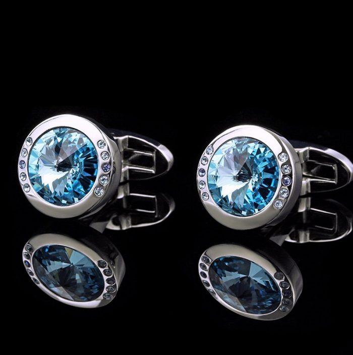 Light Blue Round Stone Cufflinks For Men from Gentlemansguru.com