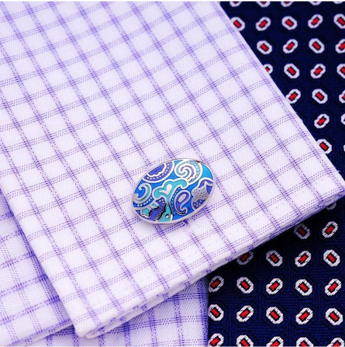 Light Blue Enamel Vintage Cufflinks Button Shirt Cufflinks from Gentlemansguru.com