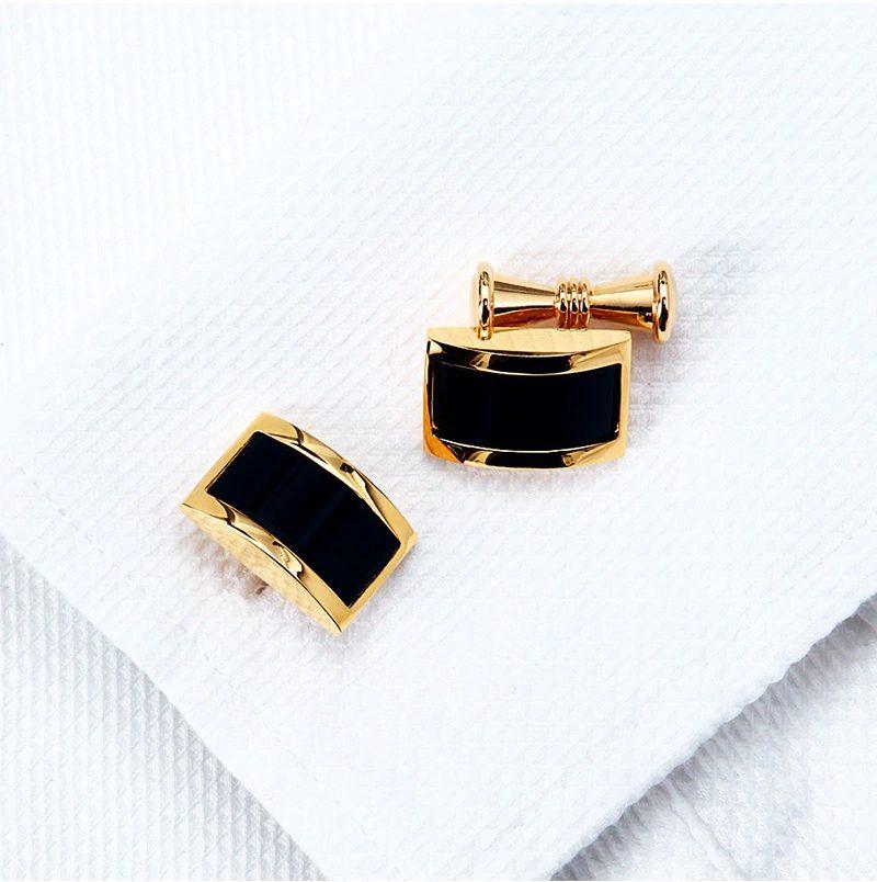 Luxury 18k Plated Gold and Black Cufflinks For Men from Gentlemansguru.com