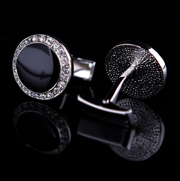 Luxury Black Crystal Tuxedo Cufflinks Set from Gentlemansguru.com