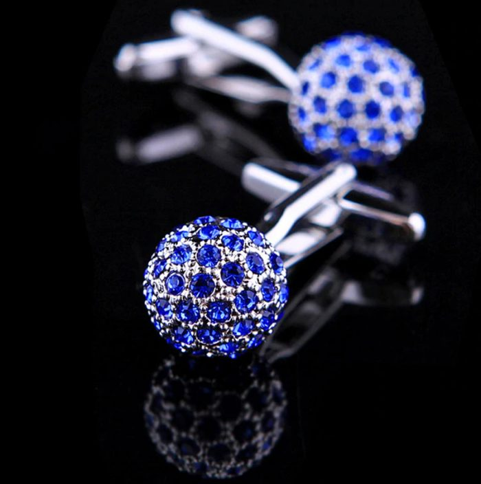 Luxury Blue Crystal Ball Cufflinks Sparke from Gentlemansguru.com