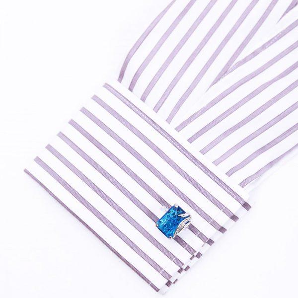 Luxury Crystal Blue Gemstone cufflinks Mens from Gentlemansguru.com