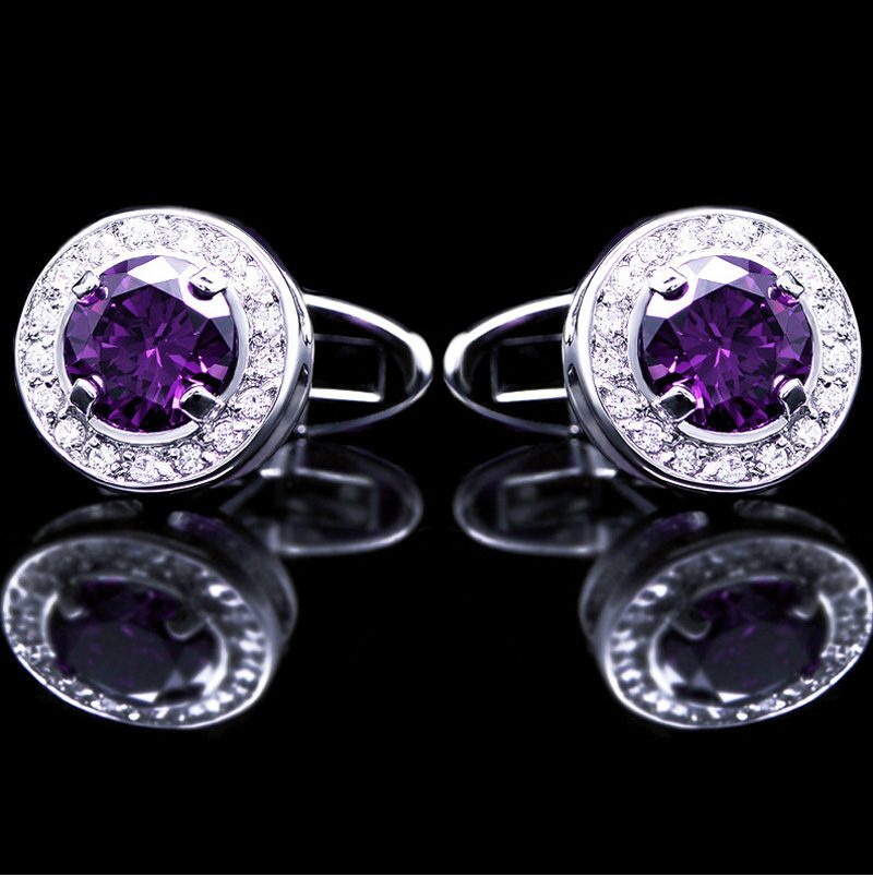 Luxury Crystal Purple Round Wedding Cufflinks from Gentlemansguru.com