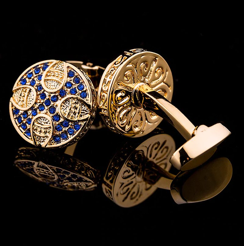 Luxury Gold and Blue Cufflinks Sets For Men Wedding Tuxedo Cuyfflinks from Gentlemansguru.com