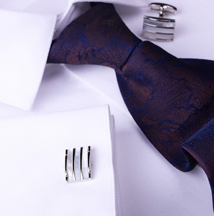 Luxury Shell Cufflinks Silver Striped Shell Cufflinhks from Gentlemansguru.com