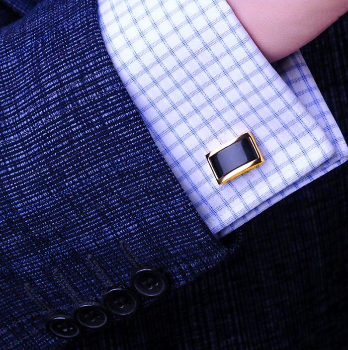 Mens 18k Gold and Black Cufflinks Set Button Shirt cufflinks For Men from Gentlemansguru.com