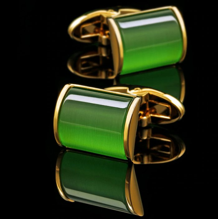Mens 18k Yellow Gold Emerald Green Cufflinks from Gentlemansguru.com