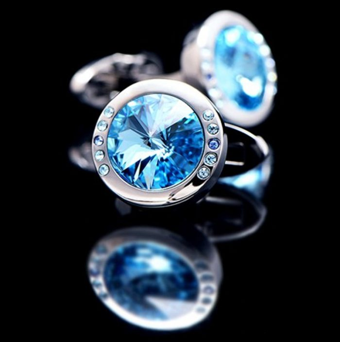 Mens Baby Blue Stone Cufflinks from Gentlemansguru.com