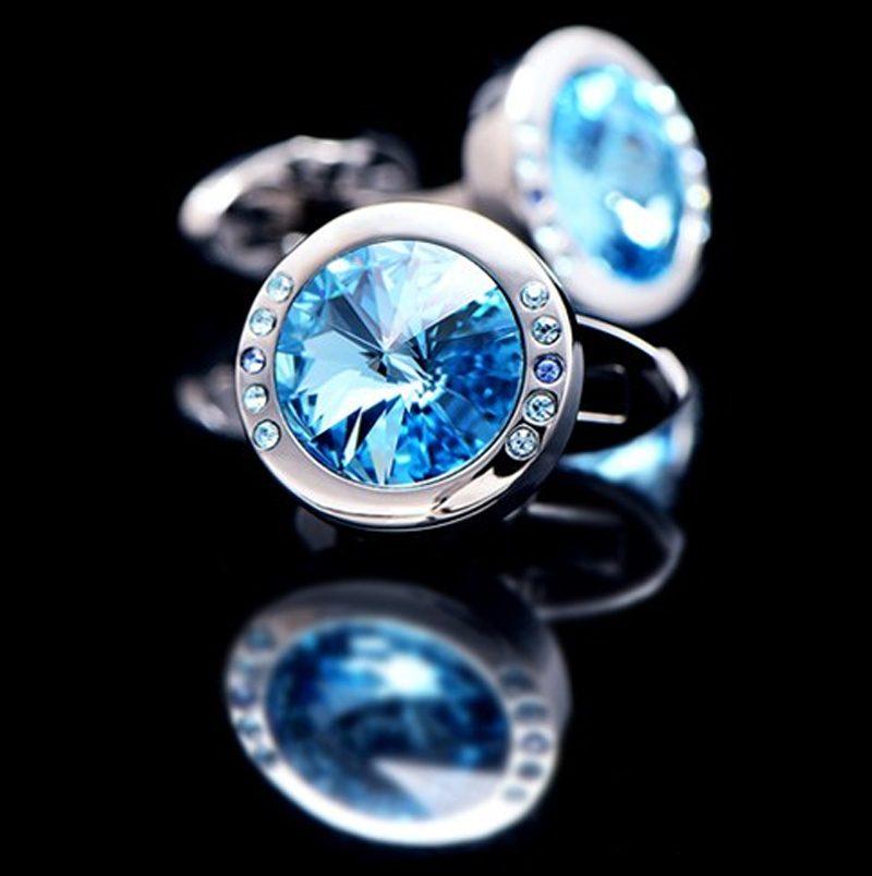 Mens Baby Blue Stone Cufflinks from Gentlemansguru.com