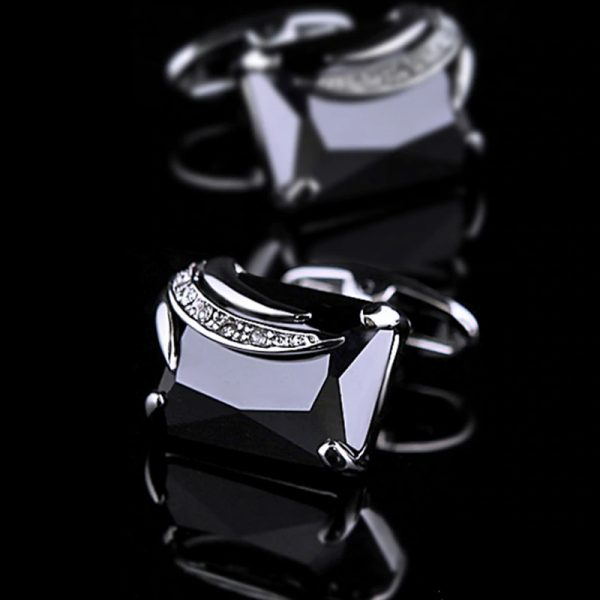 Mens Black Gemstone Cufflinks from Gentlemansguru.com