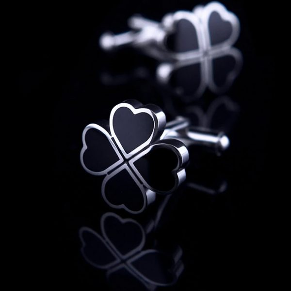 Mens Black HEarts Cufflinks Set from Gentlemansguru.com