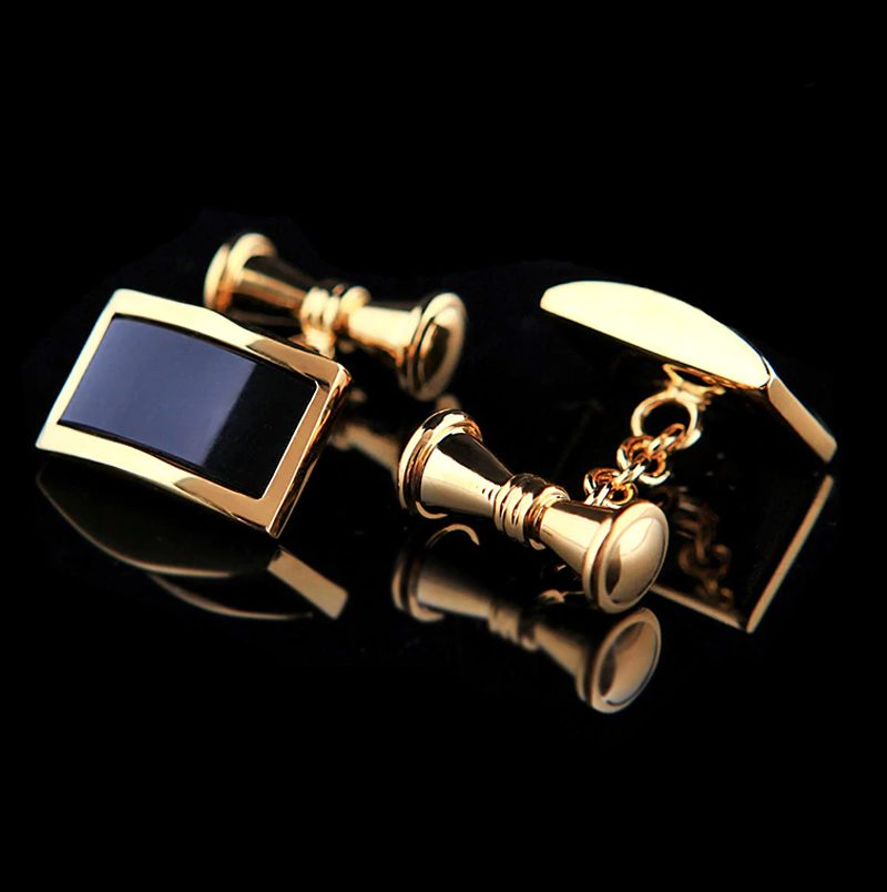 Mens Black and Gold Chain Link Cufflinks 18K Plated from Gentlemansguru.com
