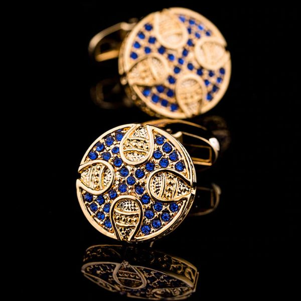 Mens Blue And Gold Cufflinks With Crystals from Gentlemansguru.com