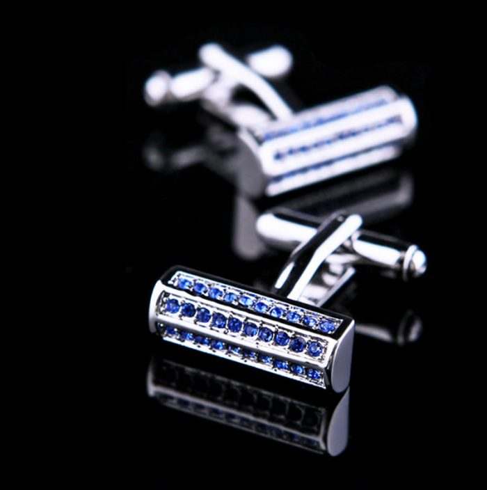 Mens Blue Crystal Rectangular Cufflinks from Gentlemansguru.com