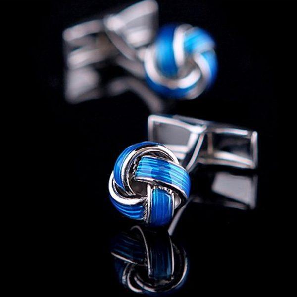 Mens Blue Knot Cufflinks Silver Luxite from Gentlemansguru.com