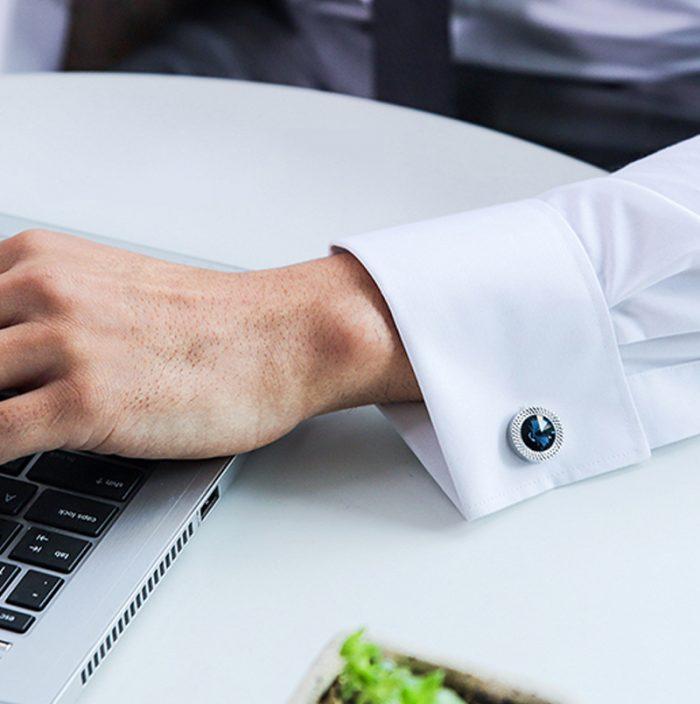 Men's Business Blue Crystal Cufflinks from Gentlemansguru.com