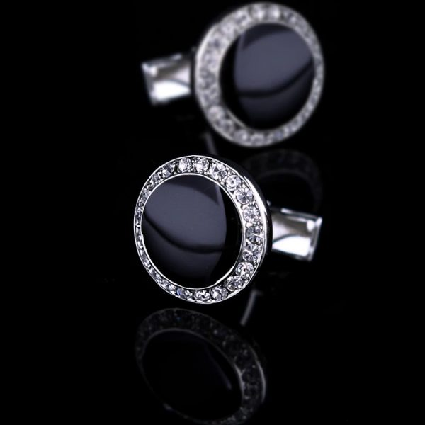 Mens Crystal Black Tuxedo Cufflinks Round Shaped from Gentlemansguru.com