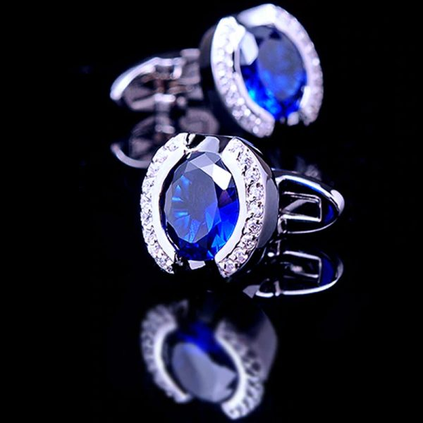 Mens Crystal Blue Stone Cufflinks from Gentlermansguru.com