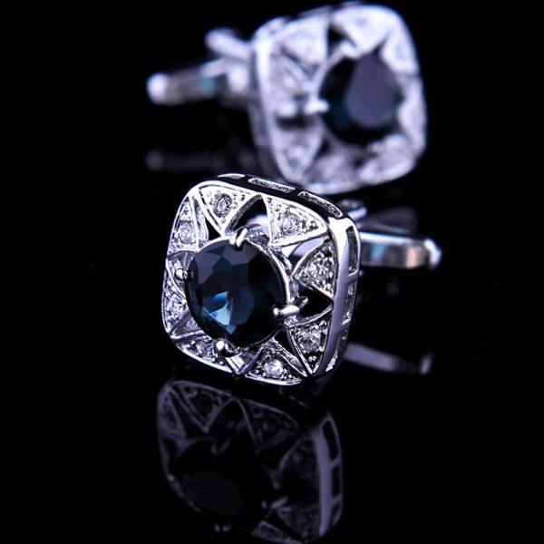 Mens Dark Blue Crystal Cufflinks from Gentlemansguru.com