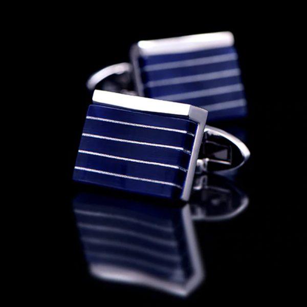 Mens Dark Navy Blue Stone Cufflinks from Gentlemansguru.com