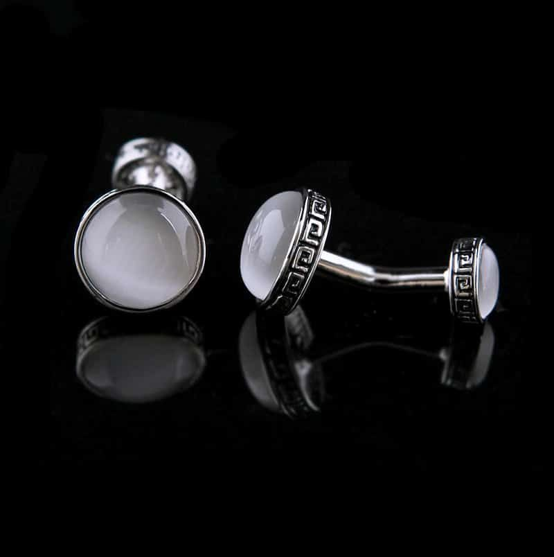 Mens Double Sided Engraved Cufflinks Naturale Stone Cufflinks from Gentlemansguru.com