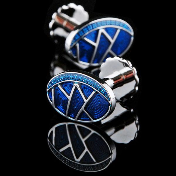 Mens-Enamel-Blue-Cufflinks-from-Gentlemansguru.com