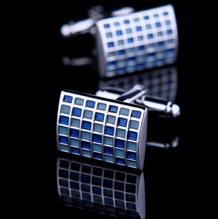 Mens Engraved Blue Check Cufflinks from Gentlemansguru.com