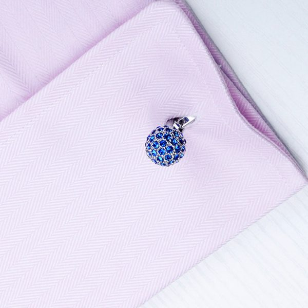 Mens French Cuff Crystal Ball Cufflinks Set For Tuxedos from Gentlemansguru.com